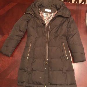 Calvin Klein zip up hooded down coat XS